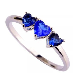 Jewelry - 925  Blue Sapphire Heart Ring